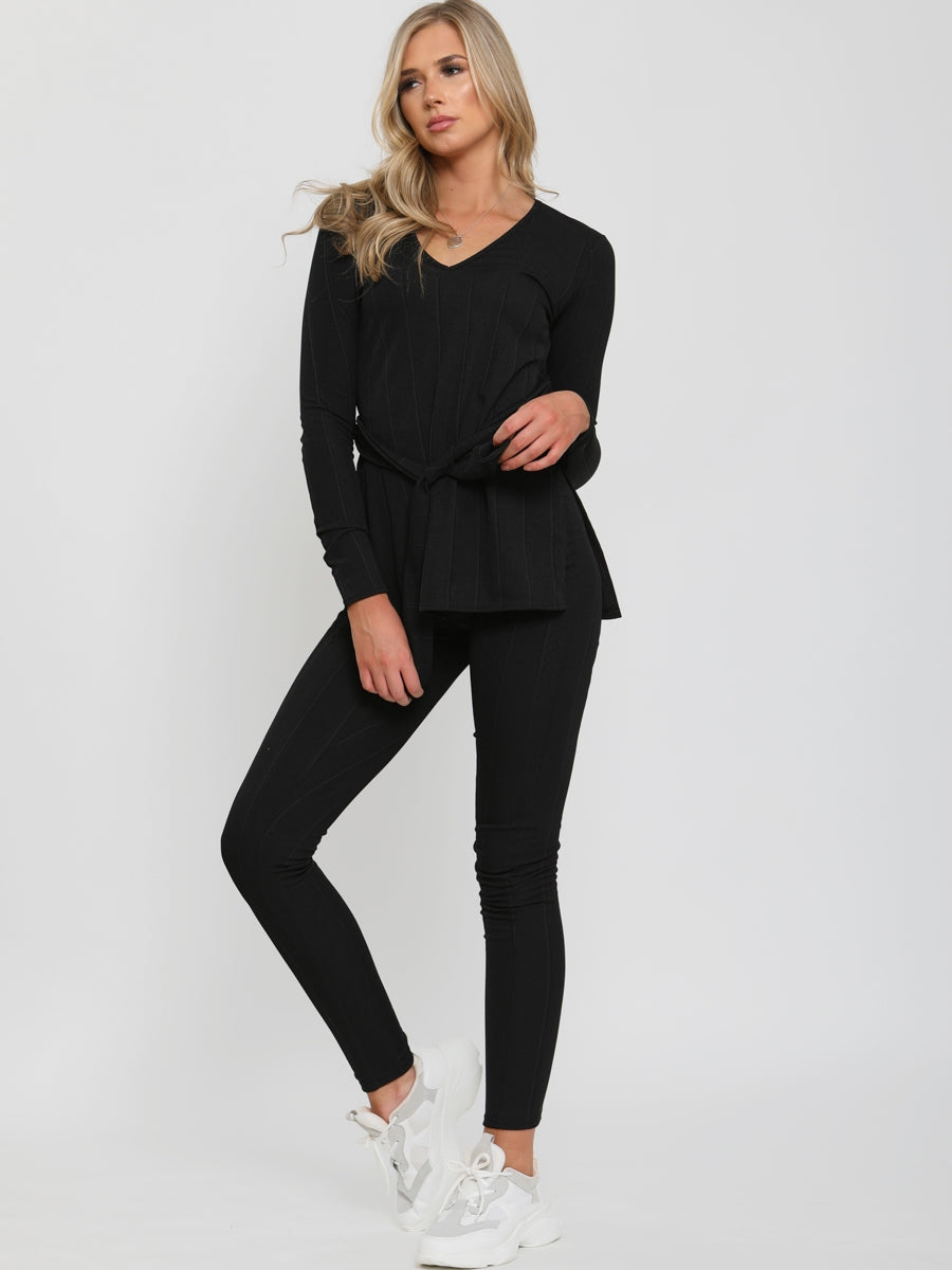 Womens Black Soft Knit Ribbed Loungewear Set - Gissings Boutique