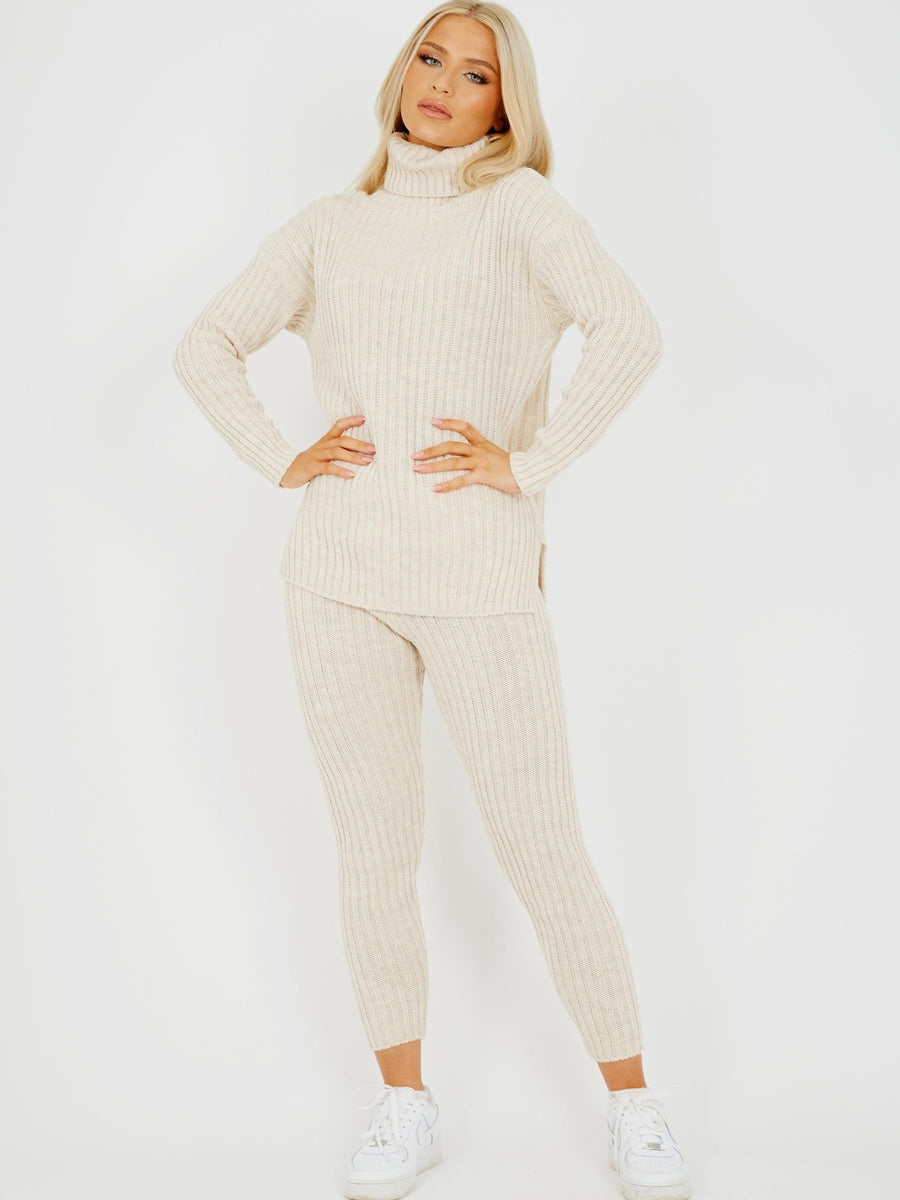Cream Soft Roll Neck Knitted Loungewear Set - Gissings Boutique