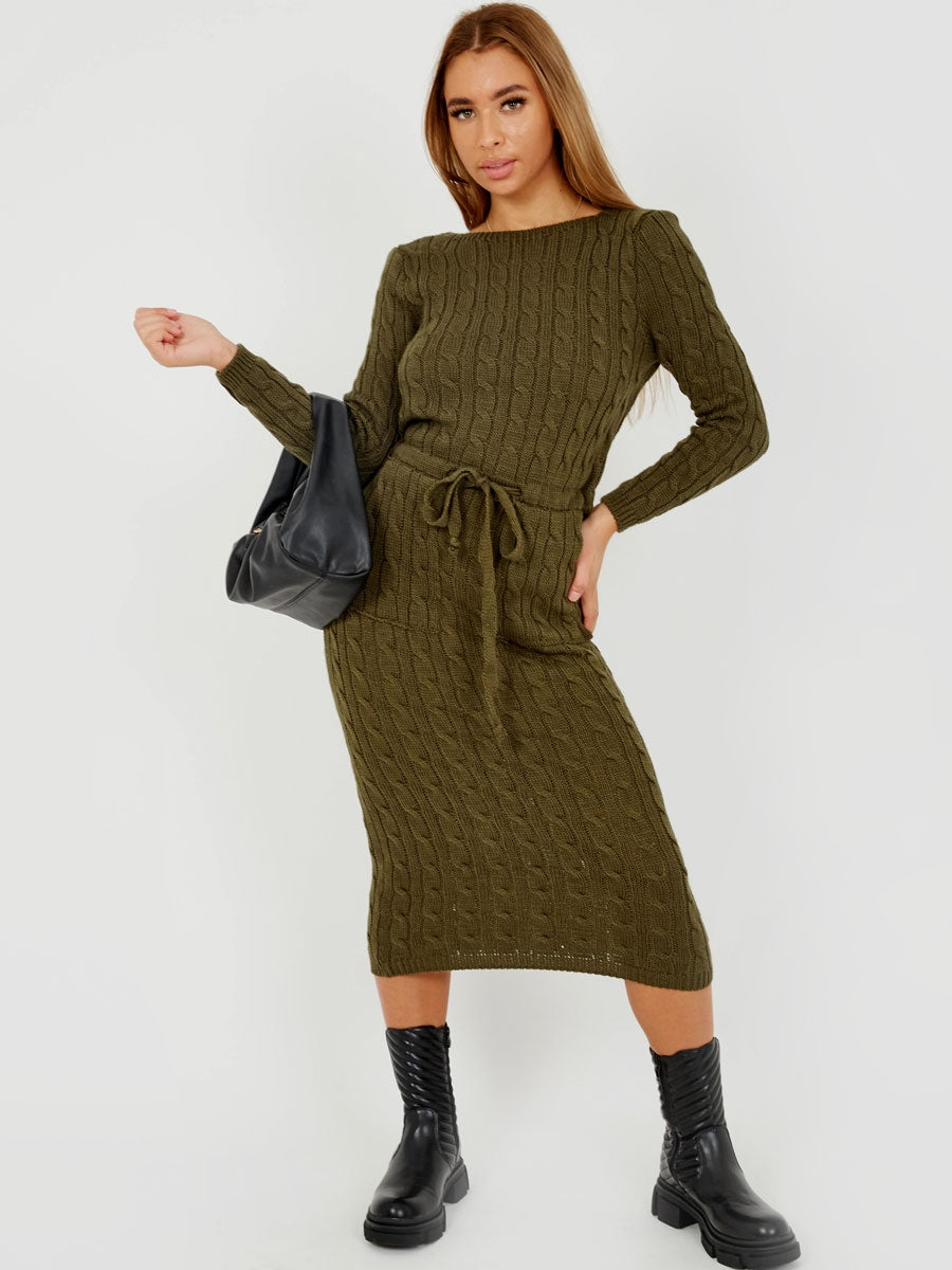 Womens Olive Cable Knitted Jumper Dress - Gissings Boutique