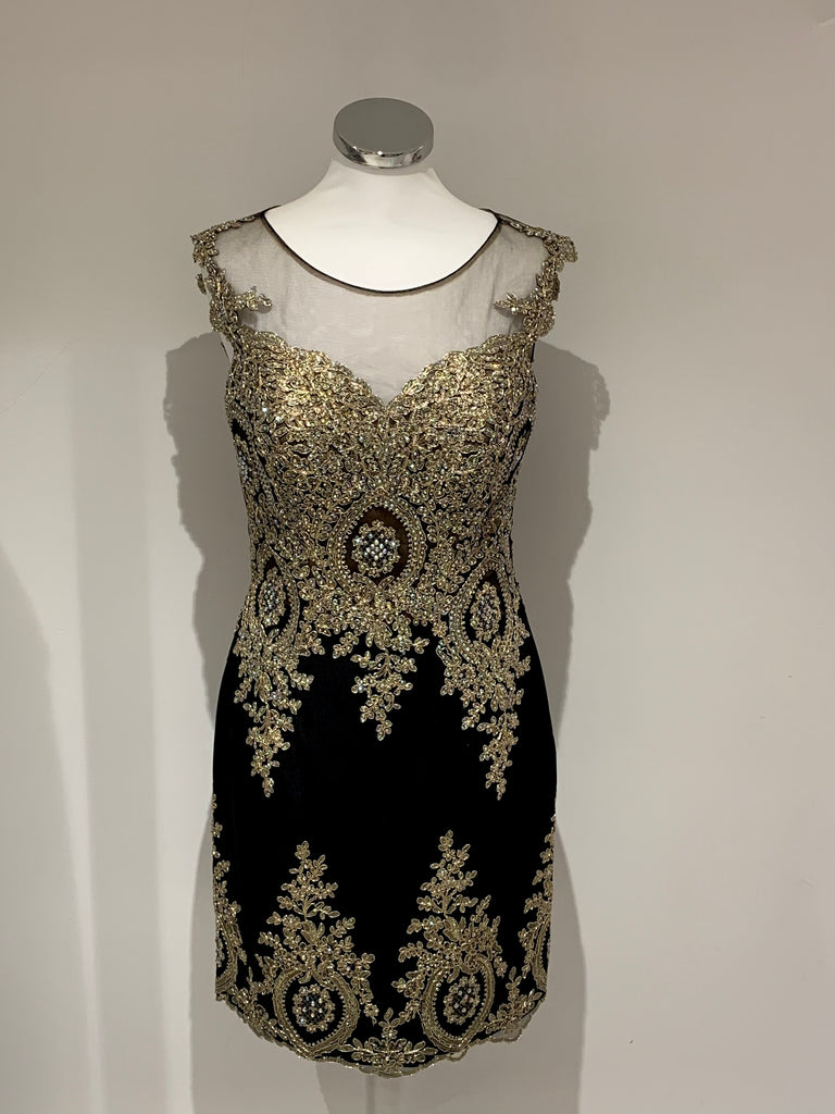 Mon Cheri Black & Gold Crystal Dress - Gissings Boutique