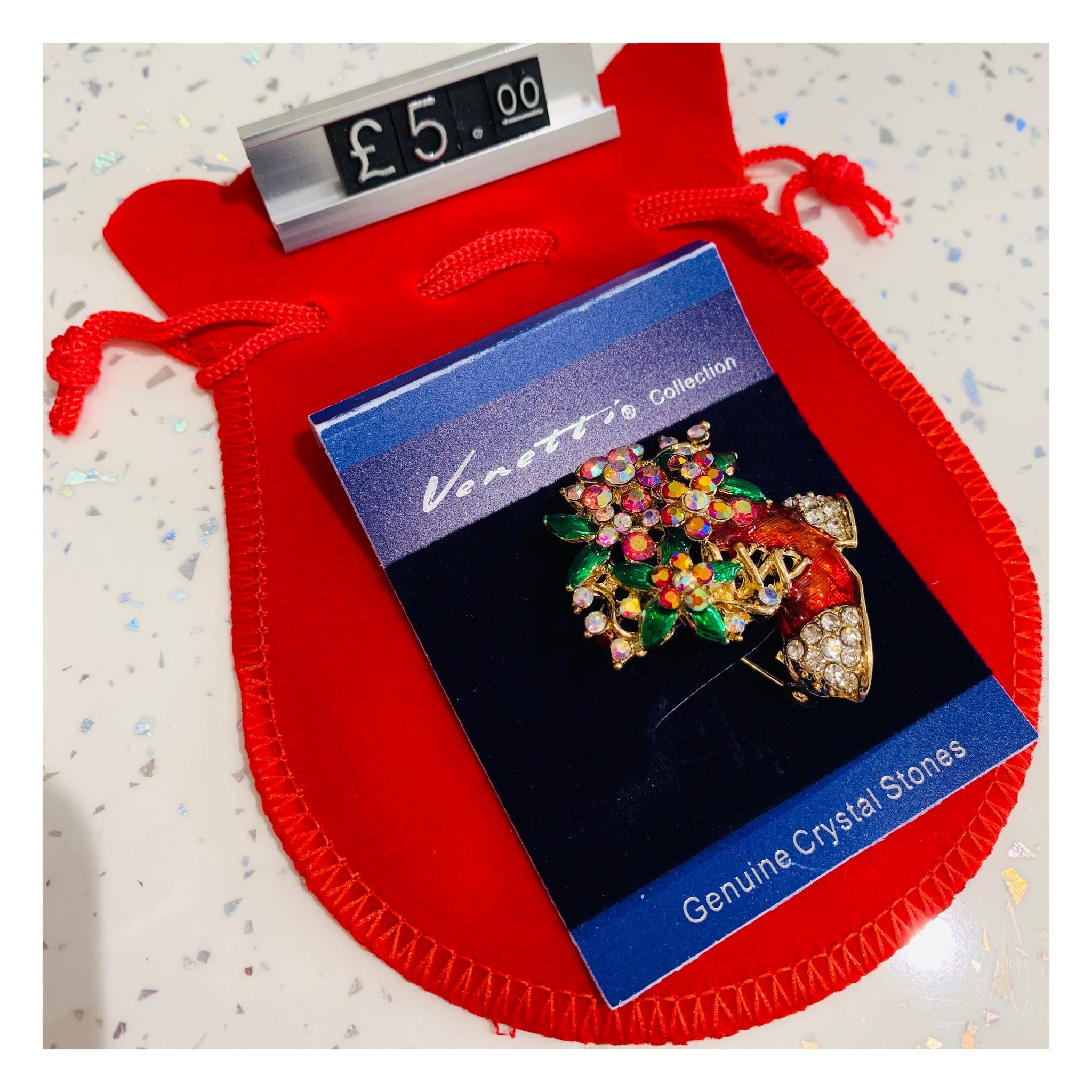 Festive Boot Christmas Brooch