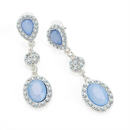 Baby Blue Crystal Cinderella Earrings - Gissings Boutique