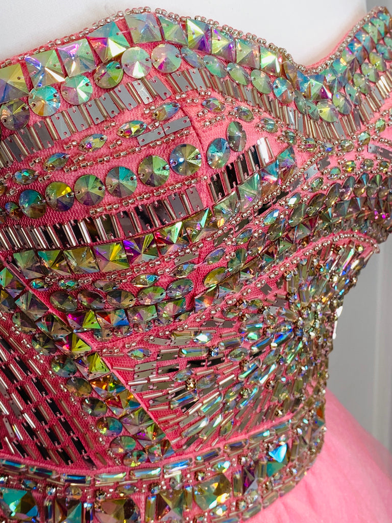 Pink Crystal Encrusted Short Pageant Dress - Limited Edition - Gissings Boutique