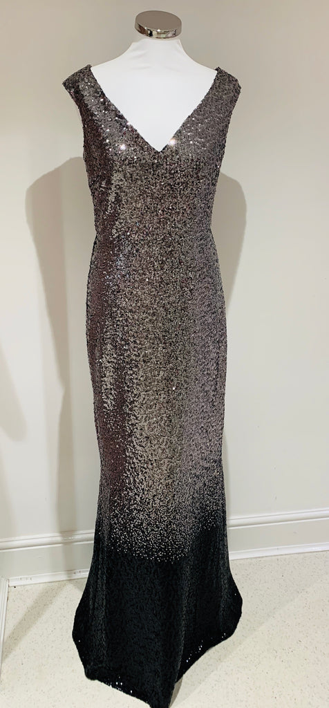 Stephanie Pratt Silver Black Ombre Sequin Long Evening Dress - Gissings Boutique