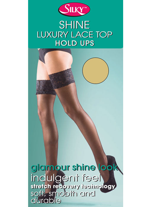 15 Denier Super Shine Lace Top Hold Ups - Gissings Boutique