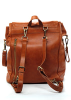 Caramel Brown - Genuine Wax Leather Backpack