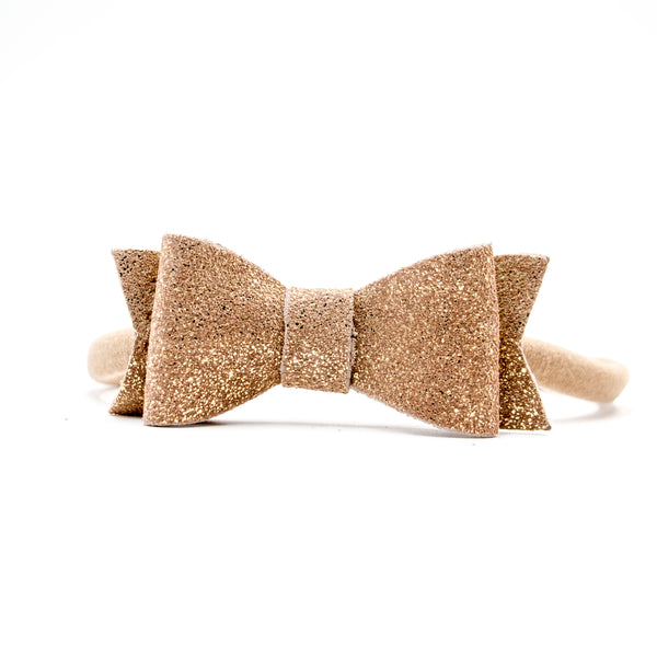 Gold Glitter - Genuine Leather Kelly Headband