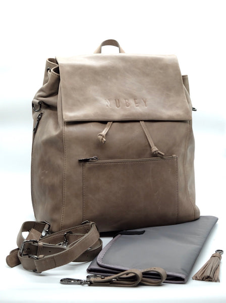 Sand Grey - Genuine Wax Leather Backpack