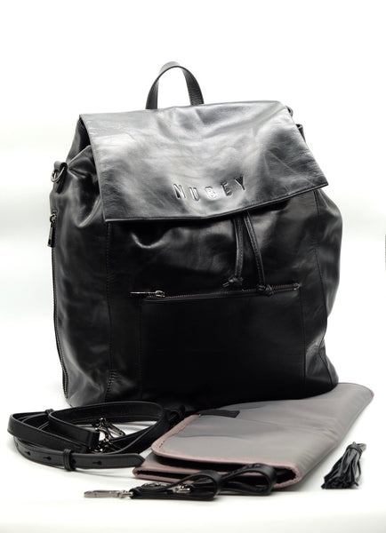 Midnight Black - Genuine Wax Leather Backpack