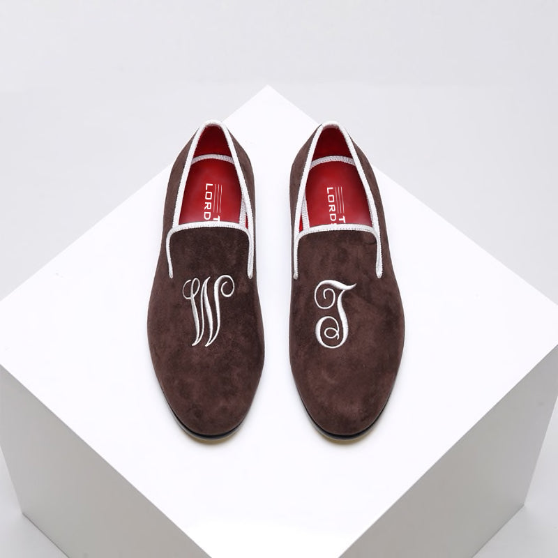 Hand Made Customised Velvet Loafers - Brown Velvet
