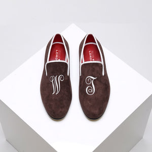 Customised Velvet Loafers - Brown Velvet