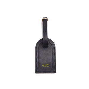 Premium Leather Luggage Tag - Black