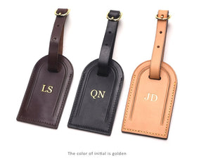 Premium Leather Luggage Tag - Brown