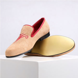 Customised Velvet Loafers - Beige