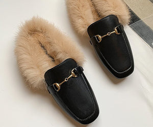 Faux Fur Mules - Black Light Fur