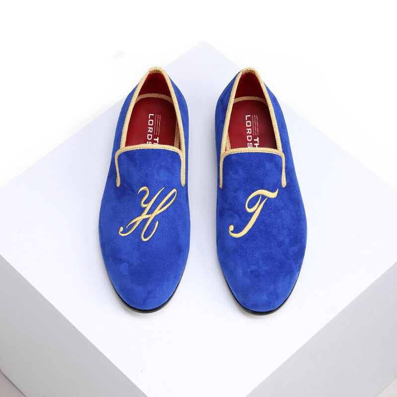 Customised Velvet Loafers - Blue Velvet
