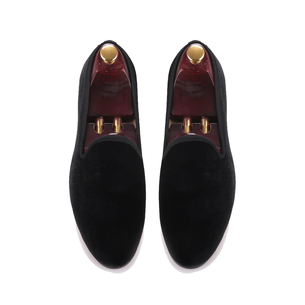 Hand Made Customised Velvet Loafers - All Black