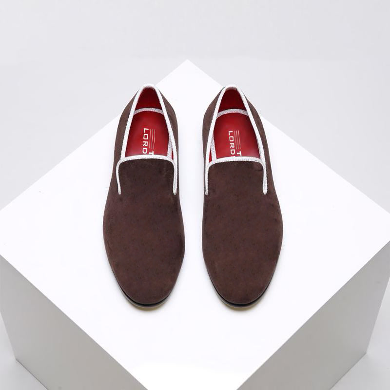 Plain Velvet Loafers - Brown