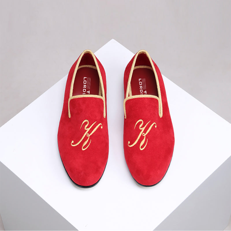 Customised Velvet Loafers - Red