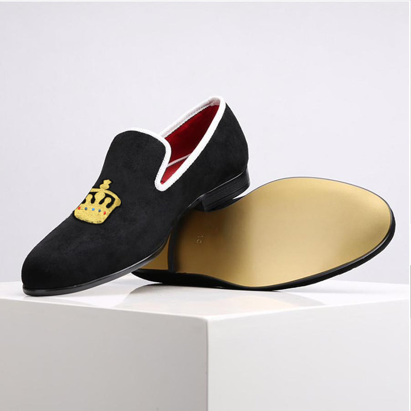 Customised Velvet Loafers - Regal Crown
