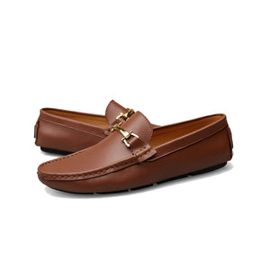 Tan leather driving loafers