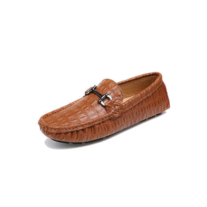 Croc Leather Drivers - Tan