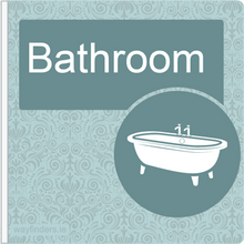 Load image into Gallery viewer, Dementia Friendly Sign Projecting Bathroom Sign Blue
