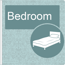 Load image into Gallery viewer, Dementia Friendly Sign Projecting Bedroom Sign Blue