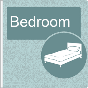 Dementia Friendly Sign Projecting Bedroom Sign Blue
