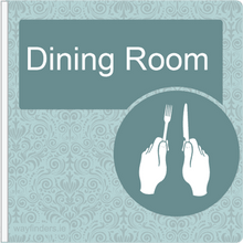Load image into Gallery viewer, Dementia Friendly Sign Projecting Dining Room Sign Blue