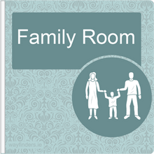 Load image into Gallery viewer, Dementia Friendly Sign Projecting Family Room Sign Blue