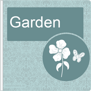 Dementia Friendly Sign Projecting Garden Sign Blue