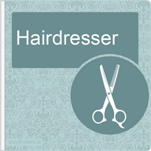 Load image into Gallery viewer, Dementia Friendly Sign Projecting Hairdresser Sign Blue
