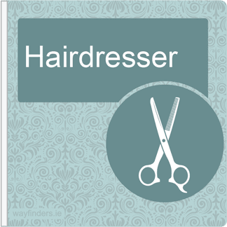Dementia Friendly Sign Projecting Hairdresser Sign Blue