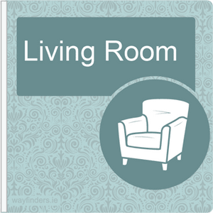 Dementia Friendly Sign Projecting Living Room Sign Blue