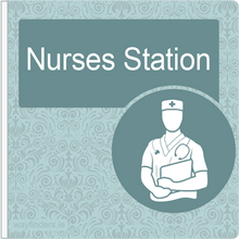 Load image into Gallery viewer, Dementia Friendly Sign Projecting Nurses Station Sign Blue