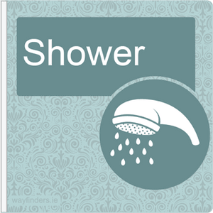 Dementia Friendly Signage Projecting Shower Sign Blue