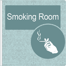 Load image into Gallery viewer, Dementia Friendly Sign Projecting Smoking Room Sign Blue