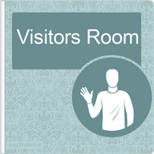 Load image into Gallery viewer, Dementia Friendly Sign Projecting Visitors Room Sign Blue