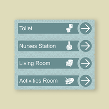 Load image into Gallery viewer, Dementia Friendly Directional Signs For Care Homes Blue