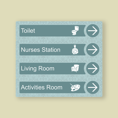 Dementia Friendly Directional Signs For Care Homes Blue