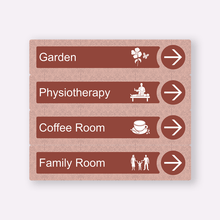 Load image into Gallery viewer, Dementia Friendly Signage Directional Care Home Signs Red