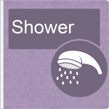 Load image into Gallery viewer, Dementia Friendly Projecting Shower Sign