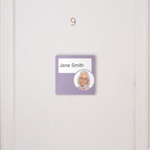 Dementia Friendly Signage Personalised Room Sign Purple