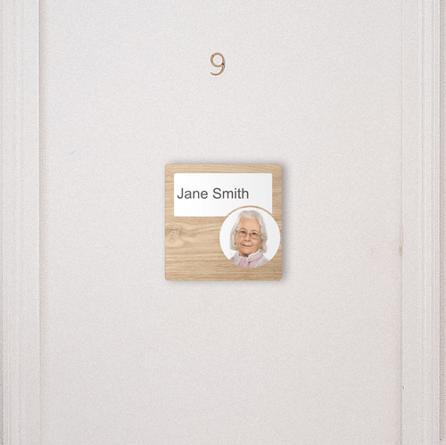Dementia Friendly Signage Personalised Room Sign Oak