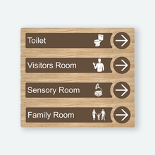 Load image into Gallery viewer, Dementia Friendly Signage Directional Care Home Signage Oak