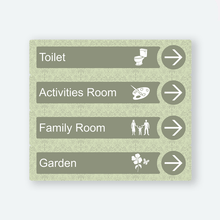 Load image into Gallery viewer, Directional Dementia Sign - Veridian Green - Signage for Care