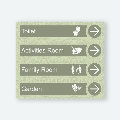 Directional Dementia Sign - Veridian Green - Signage for Care