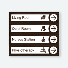 Load image into Gallery viewer, Directional Dementia Sign - Walnut - Signage for Care