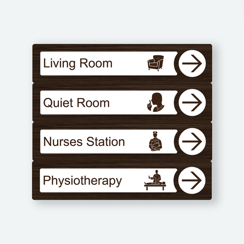 Directional Dementia Sign - Walnut - Signage for Care